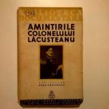 Radu Crutzescu – Amintirile colonelului Lacusteanu {1935} - Carte veche