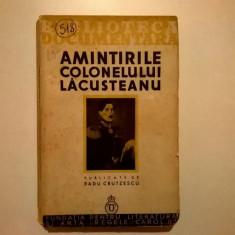 Radu Crutzescu – Amintirile colonelului Lacusteanu {1935}