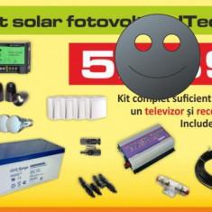 Kit (sistem) solar fotovoltaic ITechSol® 300W, pentru iluminat 12V si invertor 1000W pentru alimentare TV, receiver satelit si frigider - Panou solar
