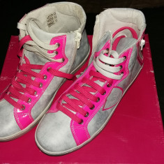 Adidasi Ghete superbe, marime 38, culoare roz + gri, piele naturala 100% - Gheata dama