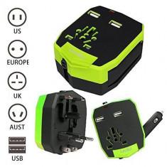 Adaptor universal de priza de calatorie, USB 2.5A, priza masina (SUA/EU/UK/UA) - Adaptor incarcator