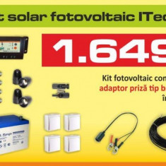 Kit (sistem) solar fotovoltaic ITechSol® 100W pentru iluminat 12V - Panou solar