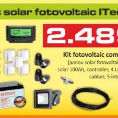 Kit (sistem) solar fotovoltaic ITechSol® 150W pentru iluminat 12V - Panou solar