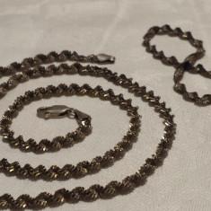 COLIER si BRATARA argint Aurit IMPLETIT INTORS set SUPERB de Efect MASIV vintage - Set bijuterii argint