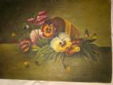 Tablou, veche pictura ulei pe carton panzat,  flori, Altul