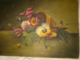 tablou, veche pictura ulei pe carton panzat,  flori