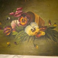 Tablou, veche pictura ulei pe carton panzat, flori - Pictor roman, An: 1932, Altul