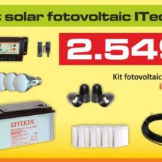 Kit (sistem) solar fotovoltaic ITechSol® 150W pentru iluminat si alimentare TV, receiver satelit pe 12V - Panou solar