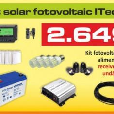 Kit (sistem) solar fotovoltaic ITechSol® 130W pentru iluminat 12V si invertor pentru alimentare TV si receiver satelit - Panou solar