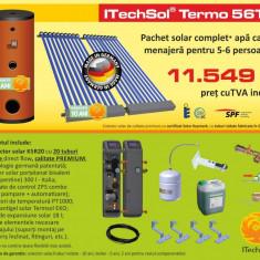 Pachet solar (kit) complet apa calda menajera pentru 5-6 persoane - calitate PREMIUM (ITechSol® Termo 56T3) - Panou solar