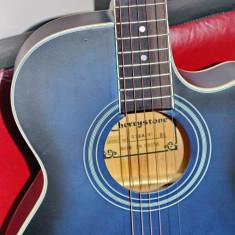 Chitara acustica avansati/incepatori/studenti NOUA albastru+negru, Cherrystone