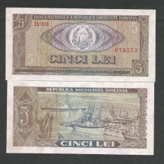 ROMANIA 5 LEI 1966 a UNC UNC [01] P-93, aproape necirculata - Bancnota romaneasca