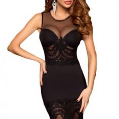L450-1 Rochie scurta eleganta, de cocktail, decorata cu broderie si margele negre - Rochie de seara, Marime: M, M/L, S/M