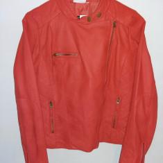 Geaca  jacheta dama , marime M , material piele ecologica   roz /rosu-portocaliu