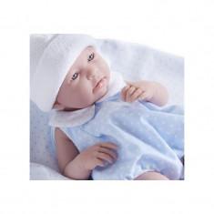 Jucarie Bebe baiat 43 cm costum vara bleu si paturica