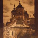 Tablou carbune/tus Biserica Radu Voda Bucuresti 1918 / semnat.
