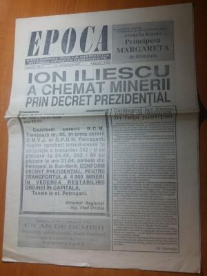 ziarul epoca 24-30 ianuarie 1991-iliescu a chemat minerii prin decret foto