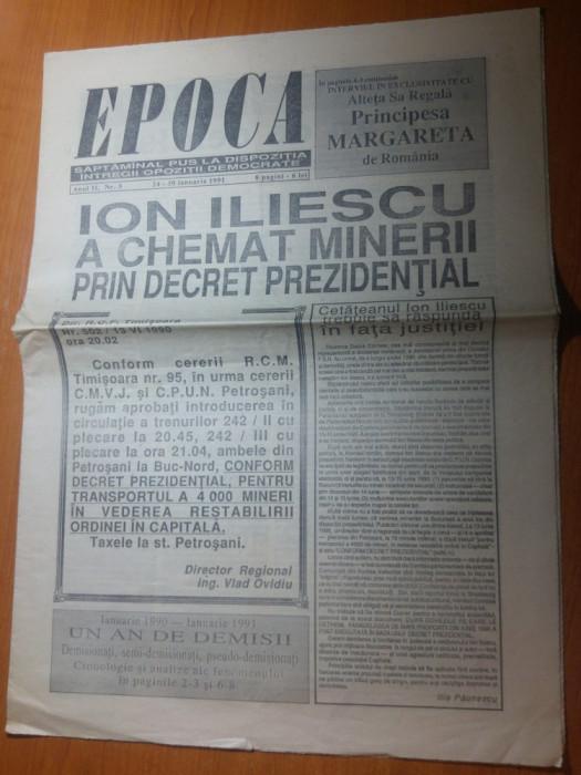 ziarul epoca 24-30 ianuarie 1991-iliescu a chemat minerii prin decret