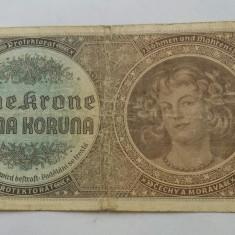 BOHEMIA BOEMIA SI MORAVIA 1 COROANA KORUNA 1940 - bancnota europa