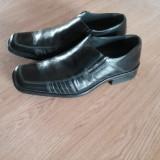 Pantofi piele - Pantof barbat, Marime: 43, Culoare: Negru