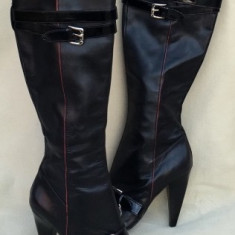 GUESS, Cizme Fashion Dama New Collection Negru Piele Stiletto Original - Cizma dama Guess, Marime: 38, Piele naturala