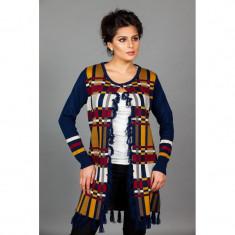 Cardigan bleumarin cu forme geometrice colorate - Pulover dama