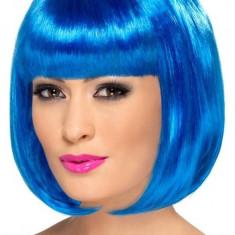 Peruca Partyrama Smiffys, tip bob scurt, albastru, roz electric - Peruca Dama