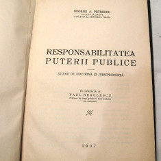G Petrescu Responsabilitatea Puterii Publice carte drept 1937 - Carte Drept administrativ
