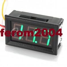 Voltmetru digital cu leduri verzi, 4.5 - 30 V, carcasa culoare neagra, 3 fire