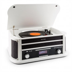 Auna Belle Epoque 1908 DAB retro stereo placă turnantă DAB + Bluetooth FM USB MP3 CD Phono MC alb