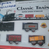 Trenulet electric 1804  aburi fum sunete lumini NOU cu vagoane ,  sina circuit
