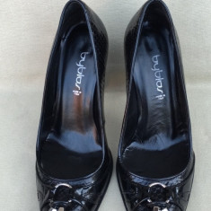 BYBLOS, Pantofi Fashion Dama, Piele Piton, Negru, Italia, Stiletto, Original - Pantof dama Byblos, Marime: 36, Piele naturala