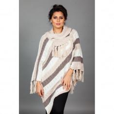 Poncho tricotat cu guler amplu - Pulover dama