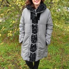 Jacheta chic cu doua fete, blana ecologica neagra, fas gri deschis - Jacheta dama