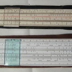 Set 2 rigle de calcul cu etui Romania 1969 si Italia