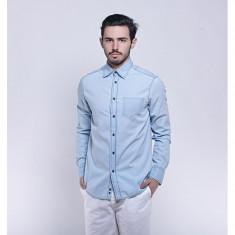 Camasa bleu din blug subtire cu maneca lunga pentru barbat - Camasa barbati