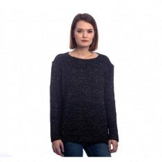 Pulover tricotat negru cu fire argintii - Pulover dama
