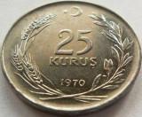 Moneda 25 Kurus - TURCIA, anul 1970 *cod 1410, Europa
