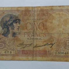 Bancnota 5 franci 1933 Franta