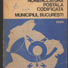 (C7154) NOMENCLATURA POSTALA CODIFICATA - MUNICIPIUL BUCURESTI