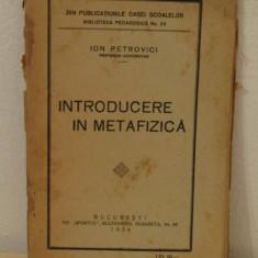 INTRODUCERE IN METAFIZICA -ION PETROVICI, 1924