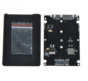 Adaptor convertor SSD M.2 NGFF la SATA 3 2.5 cu carcasa / rack NEGRU