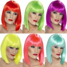Peruca neon tip bob pentru petreceri diverse culori - Peruca Dama