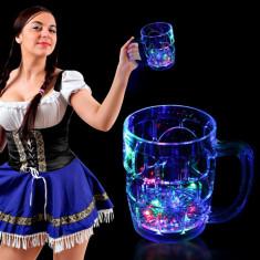 Halba de bere cu LED-uri multicolore, 380 ml
