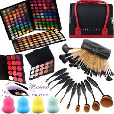 Make up kit profesionisti Trusa machiaj Mac Cosmetics 180 culori MAC 24 pensule geanta case