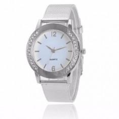 Ceas de dama casual, fashion, simplu curea din inox argintiu - Ceas dama Geneva, Quartz, Analog