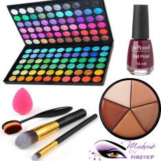 Trusa machiaj 120 culori MAC + pensule make up + buretel para + oja + concealer - Trusa make up