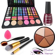 Paleta farduri machiaj 78 culori MAC + Pensule makeup + Buretel ou Oja fond ten - Trusa machiaj Mac Cosmetics