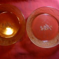2 Castronele din sticla decorate in relief cu pasarele, d= 19, 5 cm