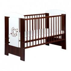 Patut Copii Din Lemn Teddy With Stars Wenge - Patut lemn pentru bebelusi Klups, 120x60cm, Maro